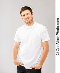 smiling man in blank white t-shirt