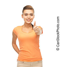 woman showing thumbs up - happy woman in blank color t-shirt...