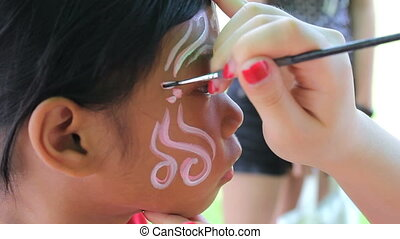 Face Painting Detail On Little Girl - A cute little 7 year...
