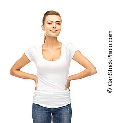 smiling woman in blank white t-shirt - picture of smiling...