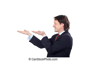 businessman holding something on his hands against white...