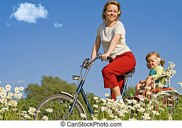 Riding on the countryside with a bike