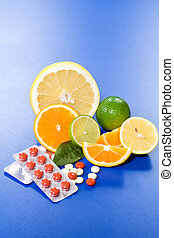 Fruits and vitamins - Citrus slices, halves and full fruits...