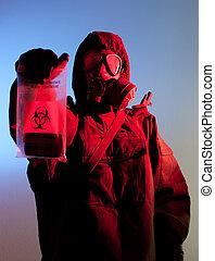 Biohazard fear - Biohazard soldier holing biohazard bag
