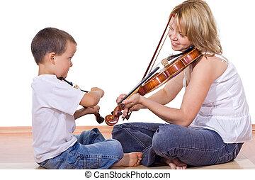 niño, mujer, Practicar, violín