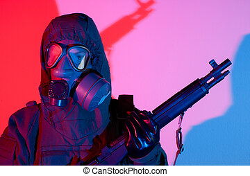 Chemical warfare fear - Armed and ready Chemical warfare...