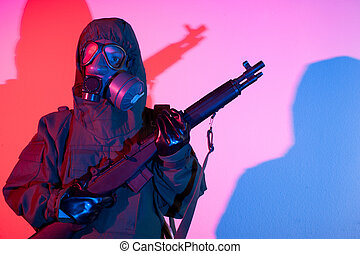 Chemical warfare security - Armed and ready Chemical warfare...