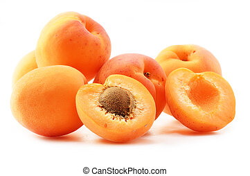 Composition with fresh ripe apricots isolated on white...