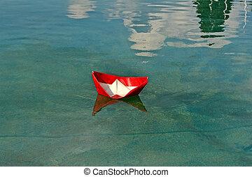 ambiente, barco, agua, rojo