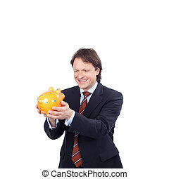 Man with his piggy bank