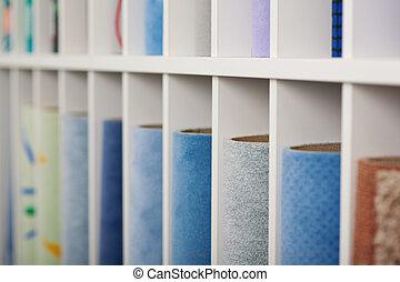 Carpet samples displayed in a store - Carpet samples for...