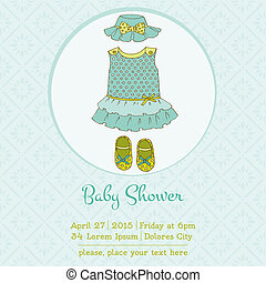 Baby Girl Shower or Arrival Card with Place for your text in vector