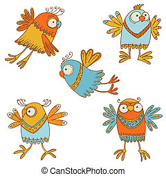 ?ute Birds - for design, baby scrapbook - in vector