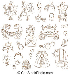Princess Girl Set - for design and scrapbook - in vector