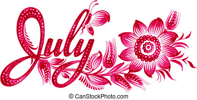 July the name of the month - July, name of the month, hand...