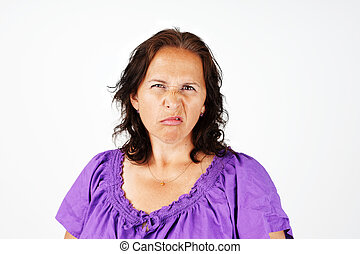 Grumpy middle age woman - Grumpy, irritated and upset middle...