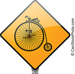 Retro Bicycle Sign - Retro penny farthing bicycle sign