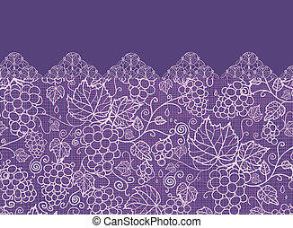 Lace grape vines horizontal seamless pattern background border