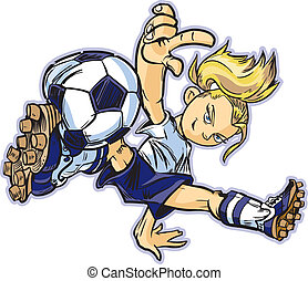 Caucasian Break Dancing Soccer Girl - vector clip art...
