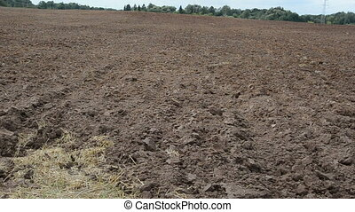fresh plowed field stork - panoramic view of freshly plowed...