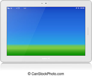 White Tablet PC. Vector. Horizontal. Copy Space - White...