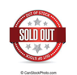 Sold Out Stamp seal illustration design over white