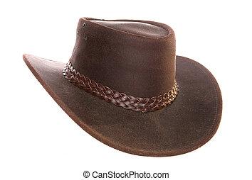 australiano, cuero, vaquero, sombrero