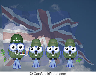 Comical UK Soldiers - Comical UK bird General and Soldiers...
