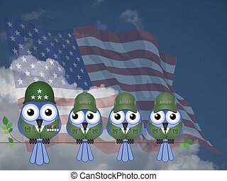 Comical USA Soldiers - Comical USA bird General and Soldiers...