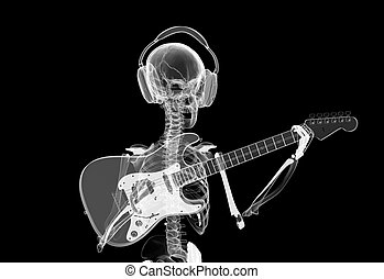 Music forever - xray Skeleton in headphones playing guitar