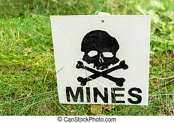 warning minefield - warning sign, warning landmines in this...