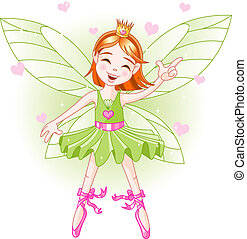 Little green fairy - Cute green fairy ballerina flying