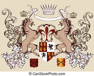 Heraldic design with coat of arms