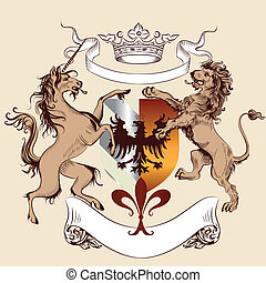 Heraldic design with coat of arms - Vector heraldic...