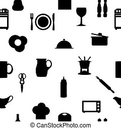 Kitchen tools icons Silhouette seamless pattern Vector...