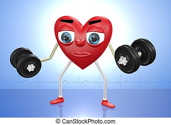 Heart character with weights - Heart character exercising...