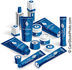 Blue Cosmetics Array - Vector illustration of various...