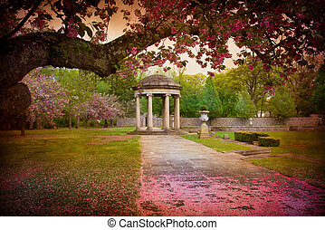 Vintage Spring Garden - Tree surrounds lovely garden path...