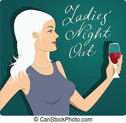 Ladies' Night Out - Attractive blond holding a glass of red...