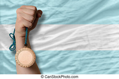 Bronze medal for sport and national flag of argentina -...