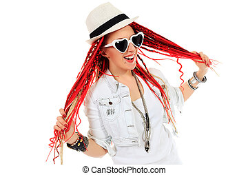 dreadlocks - Expressive girl rock singer with great red...