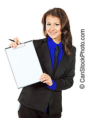 demonstrate - Portrait of a smiling business woman on a...