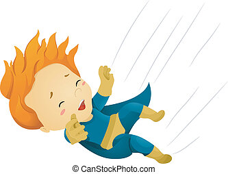 Falling Little Kid Boy Superhero - Illustration of a Falling...