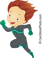 Little Kid Boy Running - Illustration of Little Kid Boy...