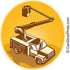 Cherry Picker Bucket Truck Access Equipment Retro -...