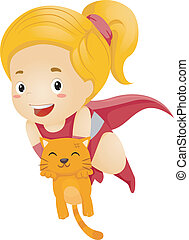 Little Kid Girl Superhero Rescue a Cat - Illustration of a...
