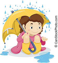 Little Kid Girl Sitting Under the Rain with Umbrella -...