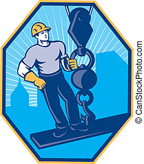 Construction Worker I-Beam Girder Ball Hook - Illustration...