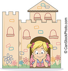 Little Kid Girl in a Cardboard Castle - Illustration of...