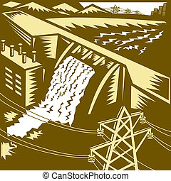 Hydroelectric Hydro Energy Dam Woodcut - Illustration of a...